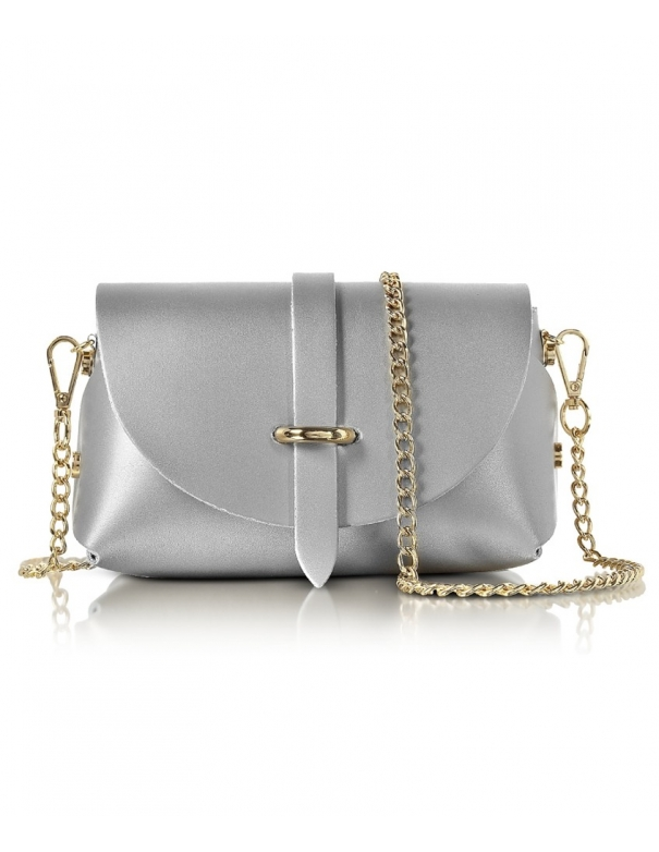 Luna in Pelle argento Bag
